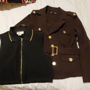 Cache COUTURE Brown Jacket L Vest 12Blk super NWOT